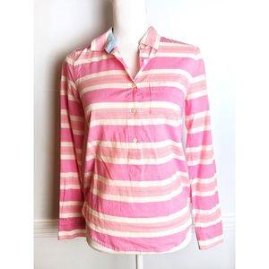 J. Crew • Pink Stripe Henley Tunic Blouse